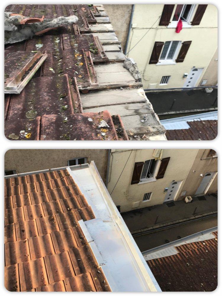 Travaux d'étanchéité de toiture avec pose de couloir en zinc à Genas